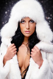 Woman in white fur coat and cap Royalty Free Stock Image