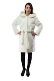 Woman in white fur coat with hands on hips Stock Image