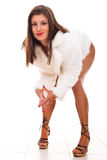Woman in white fur coat and high heels Royalty Free Stock Photos