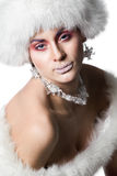 Woman in white fur hat Royalty Free Stock Photo