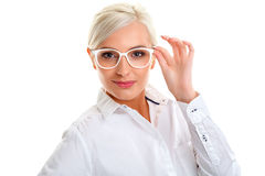 Woman in white glasses. Head and shoulders Stock Photography