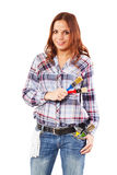 Woman with white glove and colorful paintbrushes Royalty Free Stock Photo