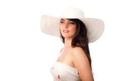 Woman in a white hat Royalty Free Stock Photo