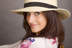 Woman with white hat Stock Photo