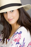 Woman with white hat Stock Photos