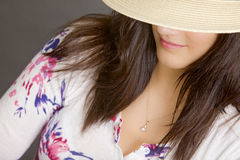 Woman with white hat Royalty Free Stock Images