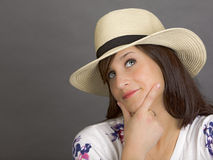 Woman with white hat Stock Image