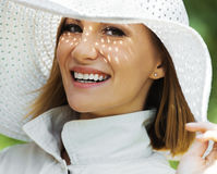 Woman white hat Royalty Free Stock Images