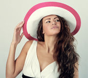 Woman in a white hat Stock Photography