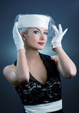 Woman in white hat Royalty Free Stock Photography