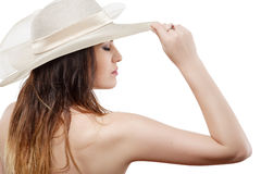 Woman in white hat Royalty Free Stock Photo