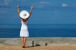 Woman in a white hat have fun Royalty Free Stock Photos