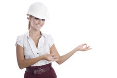 Woman with white helmet Royalty Free Stock Images
