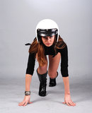 Woman in  white helmet Stock Photo
