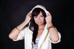 Woman in white hood Royalty Free Stock Images