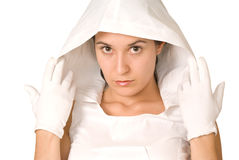 Woman with white hood and gloves Royalty Free Stock Photo