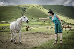 Woman with white horse Stock Images