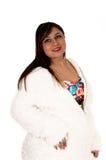 Woman in white jacket. Royalty Free Stock Photos