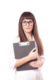 Woman in a white lab coat and glasses Stock Photo
