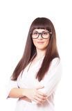 Woman  in a white lab coat and glasses Royalty Free Stock Photo