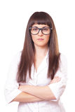 Woman  in a white lab coat and glasses Royalty Free Stock Photos
