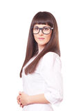 Woman  in a white lab coat and glasses Stock Photos