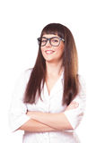 Woman  in a white lab coat and glasses Stock Photography