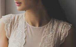 Woman in White Lace Crew-neck Cap-sleeves Top royalty free stock image