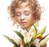 Woman with white lily Royalty Free Stock Photos
