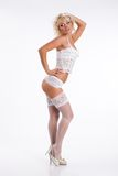 Woman In White Lingerie Stock Photo
