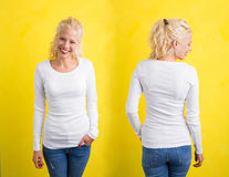 Woman in white long sleeve shirt on yellow background. Front and back Royalty Free Stock Photo