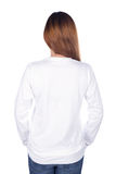 Woman in white long sleeve t-shirt isolated on white background. Woman in white long sleeve t-shirt isolated on a white background back side Stock Photo