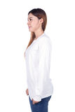 Woman in white long sleeve t-shirt isolated on white background. Woman in white long sleeve t-shirt isolated on a white background side view Stock Image