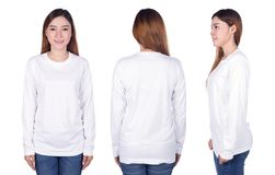 Woman in white long sleeve t-shirt isolated on white background Stock Photography