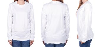 Woman in white long sleeve t-shirt isolated on white background. Woman in white long sleeve t-shirt isolated on a white background Stock Photo