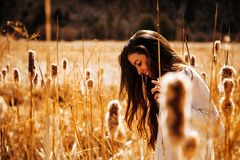 Woman in White Long-sleeved Shirt Walking on Brown Wheat Field Stock Photos