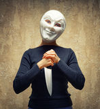 Woman in white mask holding the knife Royalty Free Stock Photo