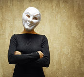 Woman in white mask. Horror concept Stock Photo