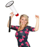 Woman with white megaphone Stock Photography