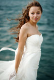 Woman in White near Stormy Sea Royalty Free Stock Images