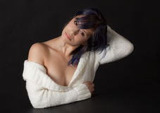 Woman in White Off Shoulder Sweater Stock Photos