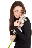 Woman with white orchid Stock Photography