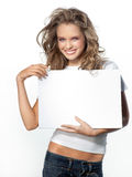 Woman with white page. Attractive girl holding white page Royalty Free Stock Photo