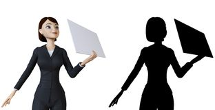 Woman and white panel Royalty Free Stock Image