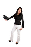 Woman in white pants and had. Royalty Free Stock Photos