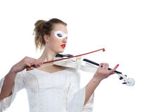 Woman with white party mask on face and white violin in hands Stock Images