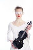Woman with white party mask Royalty Free Stock Images