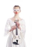 Woman with white party mask Stock Image