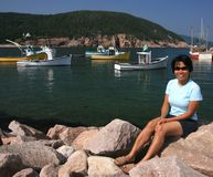 Woman at White Point Harbour Royalty Free Stock Photo