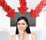 Woman in white and red arrows of question marks Stock Photos